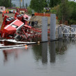 Bridge Construction Crane Topples into River — Stockfoto