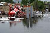 Bridge Construction Crane Topples into River — Stock Photo