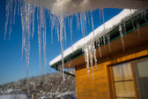 Icicle on the roof — Stock Photo