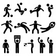 Football Soccer Goalkeeper Referee Linesman Icon Symbol Sign Pictogram — Stock Vector