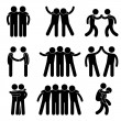 Friend Friendship Relationship Teammate Teamwork Society Icon Sign Symbol P — Imagen vectorial