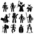 Ancient Warrior Character for Good Alliance Icon Symbol Sign Pictogram — Stock Vector