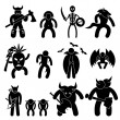 Ancient Warrior Character for Evil League Icon Symbol Sign Pictogram - Stock Vector