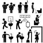 Funny Public Toilet Concept Icon Symbol Sign Pictogram — Stock Vector