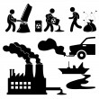 Global Warming Illegal Pollution Destroying Green Environment Concept Icon — 图库矢量图片