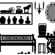 Old Antique Traditional Furniture Design Decoration — Stock Vector