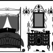 Stock Vector: Royal Bedroom Room Old Antique Victorian Furniture