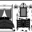 Royal Bedroom Room Old Antique Victorian Furniture — Imagens vectoriais em stock