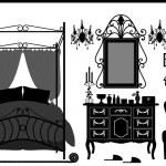 Royal Bedroom Room Old Antique Victorian Furniture — Stock Vector