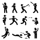 Baseball Softball Swing Pitcher Champion Icon Symbol Sign Pictogram — Stock Vector
