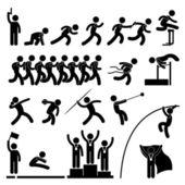 Sportovní oblasti a sledovat hry sportovní událost vítěz oslava ikonu symbolu si — Stock vektor