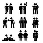 Gay lesbická heterosexuální ikony koncept piktogram symbol — Stock vektor
