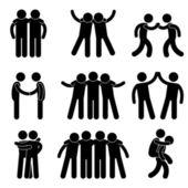 Amigo amizade relacionamento companheiro de equipe trabalho em equipe sociedade ícone sinal símbolo p — Vetorial Stock