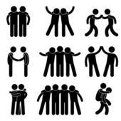 Friend Friendship Relationship Teammate Teamwork Society Icon Sign Symbol P — Vettoriale Stock