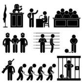 Mahkeme yargıç hukuk hapis hapishane avukatı jüri suç simgesi sembolü işareti piktogram — Stok Vektör