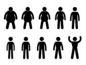 Proceso de grasa para adelgazar y delgado para muscular concepto icono símbolo firman pictograma — Vector de stock
