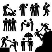 Amigo de negocios ayudando a pictograma de otro icono símbolo signo — Vector de stock