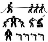 Iş işçi işçisi ofis işyeri simgesi piktogram durumda — Stok Vektör