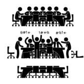 Business besprechung diskussion brainstorm arbeitsplatz büro lage szenario — Stockvektor