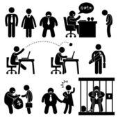 业务办公室工作场所情况老板管理器图标符号符号象形图 — 图库矢量图片