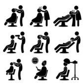 Barber μαλλιά σαλόνι κομμωτήριο εικονίδιο σύμβολο σημάδι εικονόγραμμα — Διανυσματικό Αρχείο