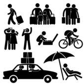 Rodinné dvojice turistické cestování dovolená výlet dovolená líbánky ikonu symbolu si — Stock vektor