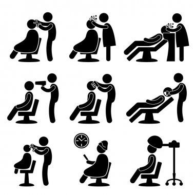 Barber Hair Salon Hairdresser Icon Symbol Sign Pictogram