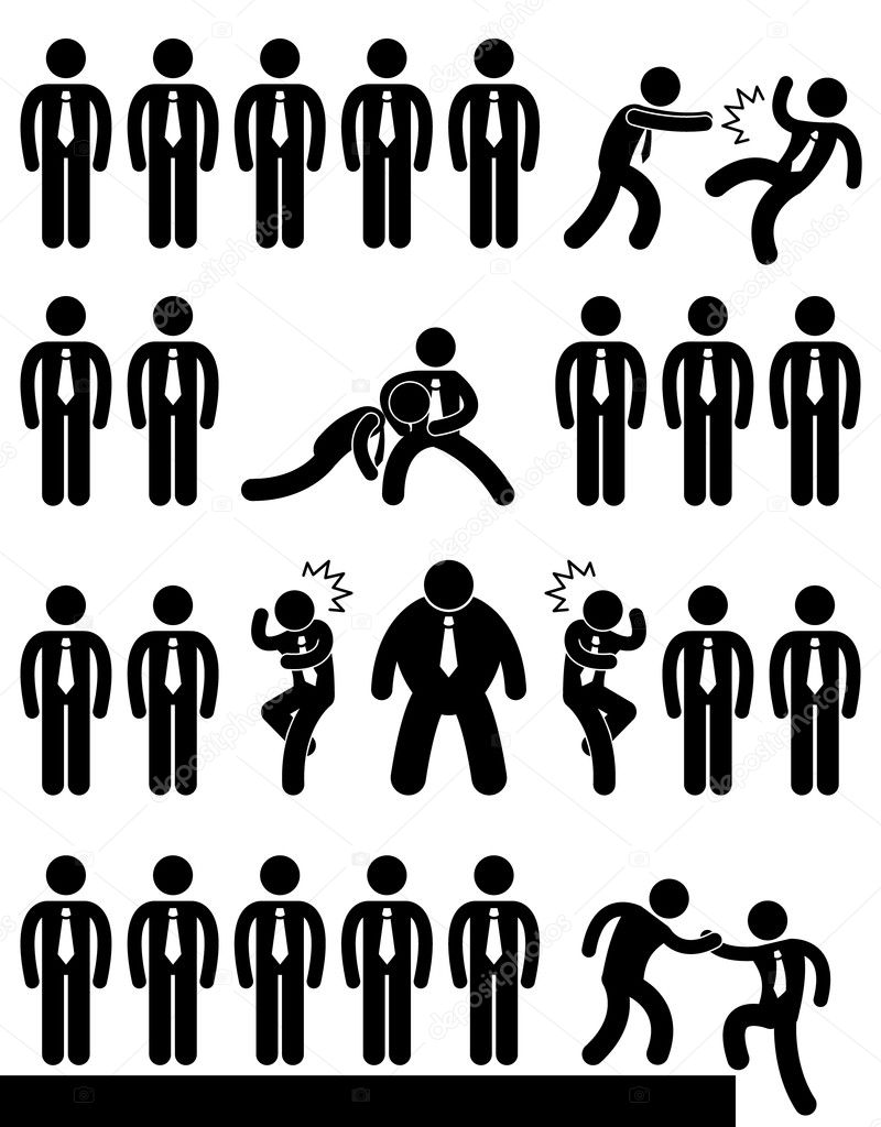 business office workplace employee politic situation scenario a set of pictogram representing situation in workplace or office vector by leremy