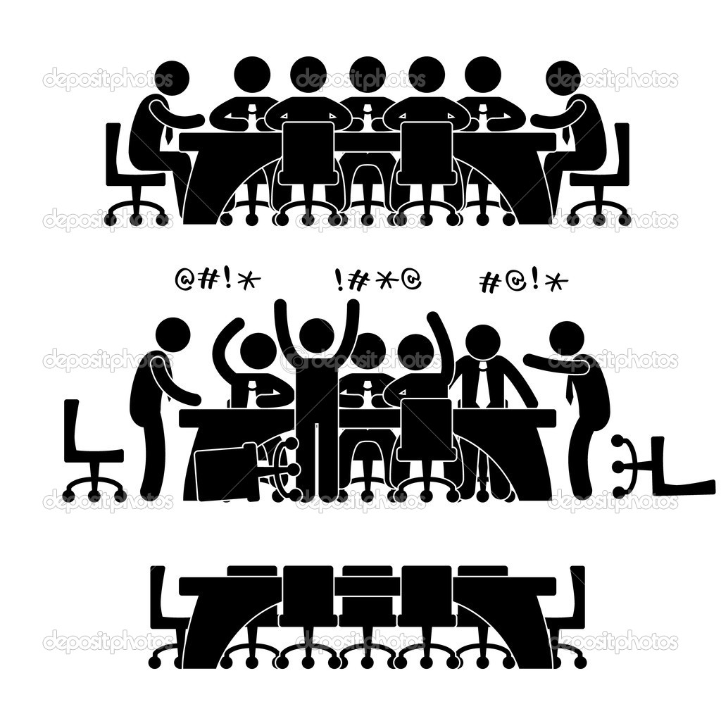 A set of pictogram representing a group of co-workers doing discussion and meeting. — Stock Vector #8500535
