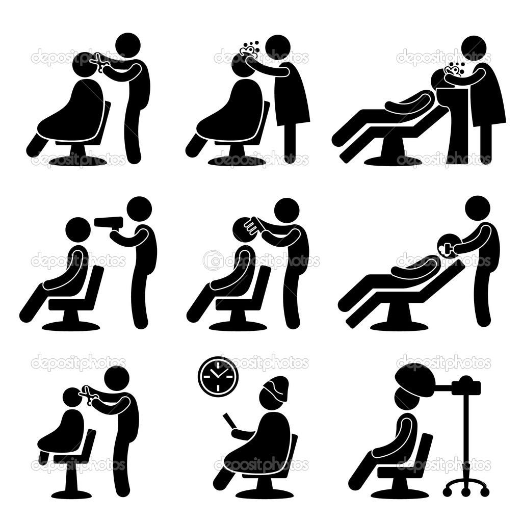 A set of pictogram representing barber, hair salon, and hairdresser. — ベクター素材ストック #8500539