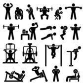 тренажерный зал гимназии бодибилдинг упражнения тренировки фитнес — Cтоковый вектор