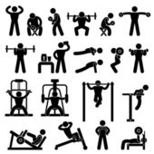 Gym gymnasium powertraining oefening opleiding fitness workout — Stockvector