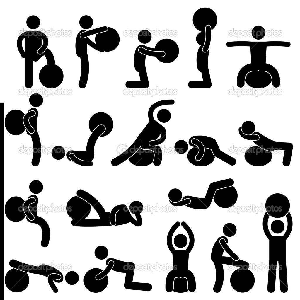 A set of pictogram showing a set of artwork related gym ball exercise. — Stock Vector #9051089