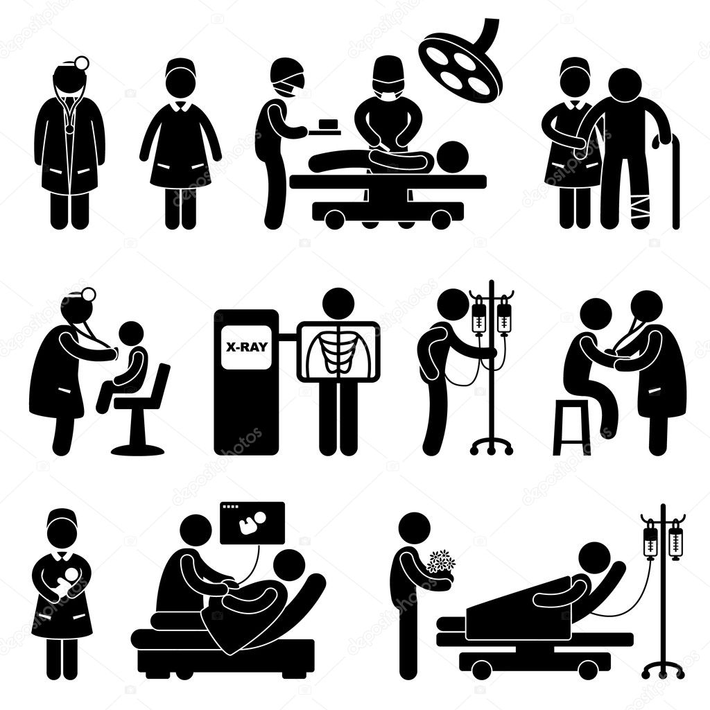 A set of pictogram showing a set of artwork related to doctor, nurse, hospital, clinic, surgery, pregnant, patient, and children. — Vettoriali Stock  #9051106
