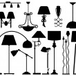 Lamp Design for Floor Ceiling Wall — Stock Vector
