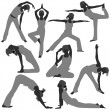 Woman Yoga Exercise Poses Healthy - Stock vektor