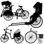 Bicycle Trishaw Tricycle Old Wheel — Wektor stockowy