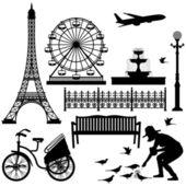 Paris Eiffel Tower Ferris Wheel — Stock Vector