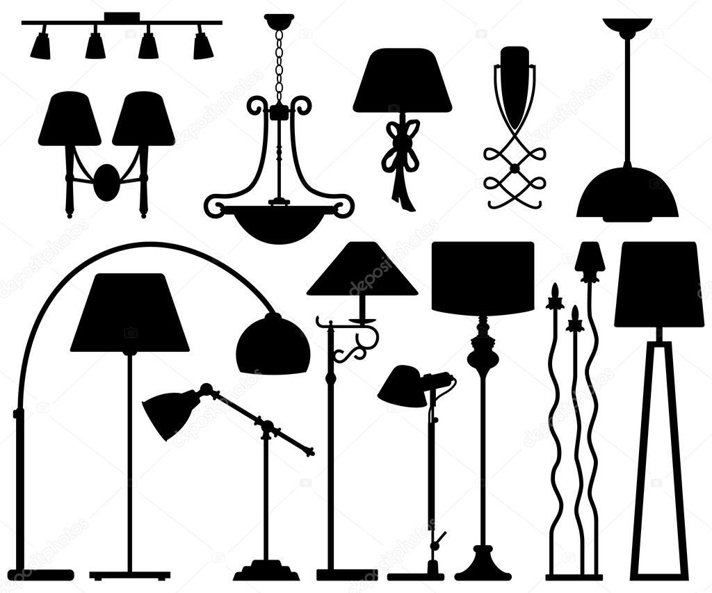 Wall Lamps Vector : Lamp Design for Floor Ceiling Wall Stock Vector ? leremy #9641992