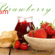 Stock Photo: Fruits and jam