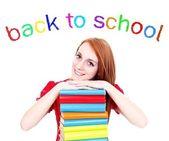 Flicka med böcker, tillbaka till skolan — Stockfoto