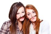 Friends with moustache — Stock Photo