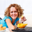 Laptop and snacks — Stock Photo #9698993