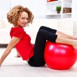 Girl with fitness ball — Stock Photo