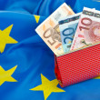Euros in wallet — Stock Photo