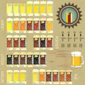 Vintage infographics set - beer icons — Stock Vector