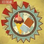 Ice cream on grunge background — Stock Vector