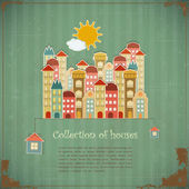 Collection of houses on vintage background — Vector de stock