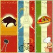Set of Vintage travel postcard - French, Italian and Spanish the — Stock Vector