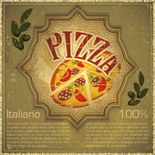 Pizza on grunge Background — Stock Vector
